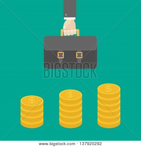 Gold coin stacks icon in shape of diagram. Dollar sign symbol. Cash money. Income and profits. Businessman hand holding briefcase. Growing business concept. Flat design. Green background. Vector