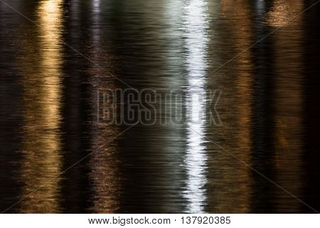 Reflection of yellow and white city lights shimmering on water in yellow and silver at night.