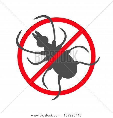 Tick insect silhouette. Mite deer ticks icon. Dangerous black parasite. Prohibition no symbol Red round stop warning sign. White background. Isolated. Flat design. Vector illustration