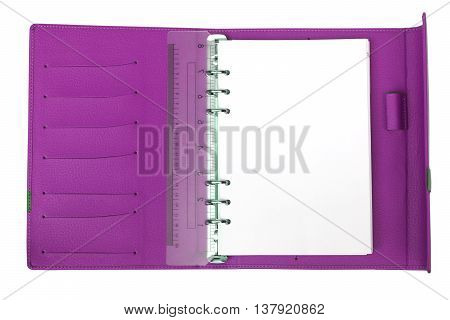 A Purple notebook with white blank page