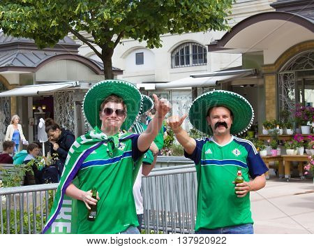Lyon, France - June 16, 2016: Northern Ireland fans at of the European Football Championship EURO 2016