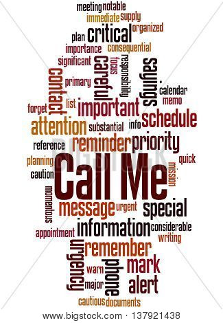 Call Me, Word Cloud Concept 2