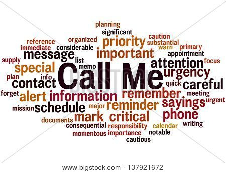 Call Me, Word Cloud Concept 8