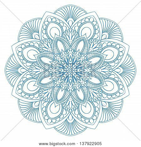 Contour Mandala for coloring book. Decorative round ornament. Anti-stress therapy pattern. Yoga symbol, background for meditation poster. Decorative flowe shape for  edalt coloring.