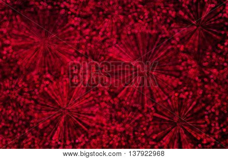 Abstract  Firework And Red Bokeh Light On Black