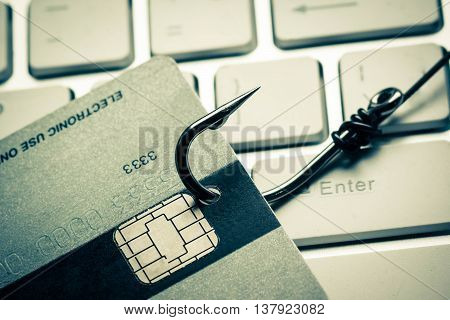 credit card phishing attack / data theft concept