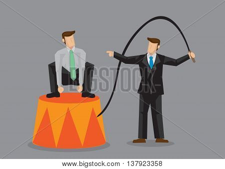 Cartoon business trainer using a whip like circus ringmaster to train staff who is squatting on circus platform. Creative vector illustration on staff training concept isolated on grey background.