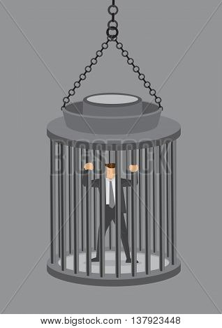 A business executive locked in a hanging cage. Cartoon vector illustration of concept of feeling trapped at work isolated on grey background.