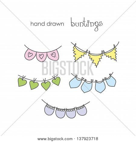 Doodle set - colorful bunting hand drawn vector