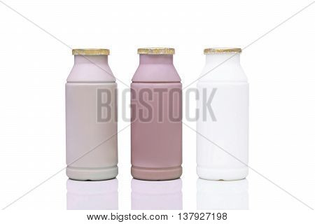 Plastic bottle milk in three different flavors - coffee, chocolate and fresh milk