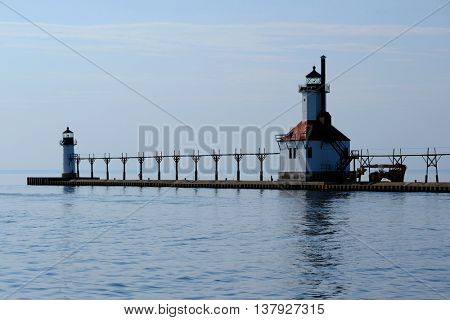 St. Joseph North Pier Lights, built in 1906-1907, Lake Michigan, MI, USA