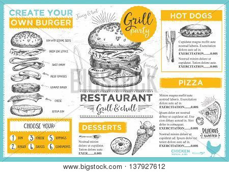 Menu placemat food restaurant brochure menu template design. Vintage creative dinner template with hand-drawn graphic. Vector food menu flyer.