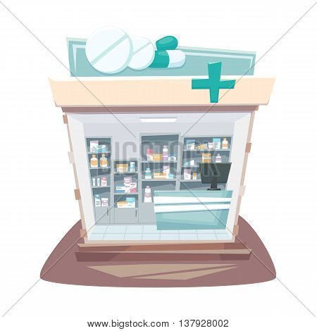 Pharmacy store interior. Street local drugstore building. Medicine retail shop inside shelves and showcases. Pharmacy interior cartoon vector illustration.