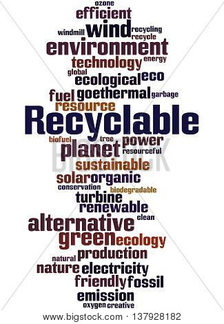 Recyclable, Word Cloud Concept 5