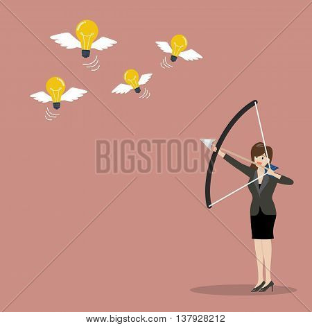 Business woman with a bow and arrow hitting the light bulb fly. Business concept