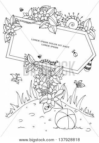 Vector illustration Zen Tangle pointer with the inscription. Doodle flowers. Coloring book anti stress for adults. Black and white.