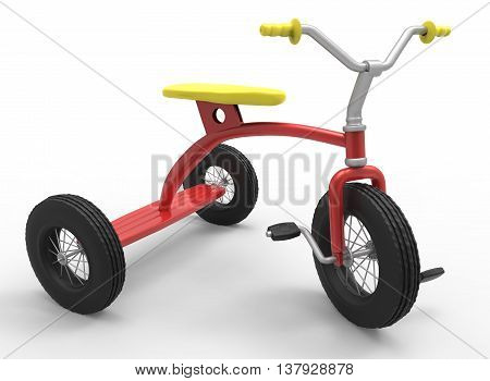 3d illustration of children tricycle. icon for game web. white background isolated. colored and cute.