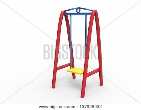 3d illustration of children swings. icon for game web. white background isolated. colored and cute.