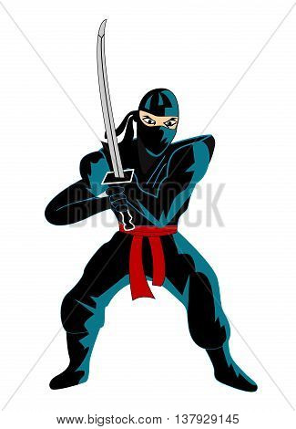 colored Illustration of ninja over white background