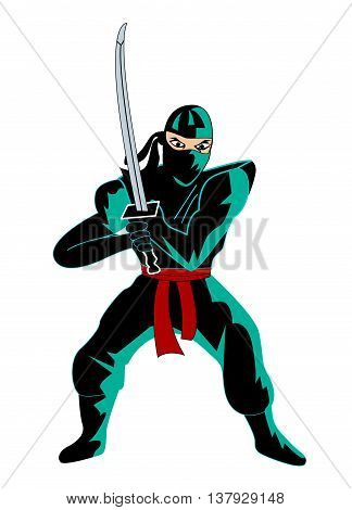 Illustration of ninja over white background vector