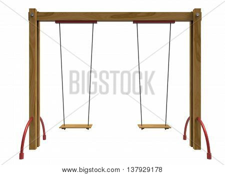 3d illustration of children swing. icon for game web. white background isolated. happy childhood.