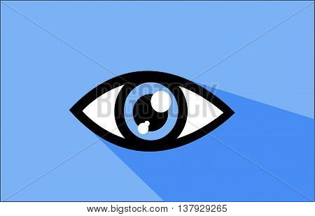 Abstract blue eye icon illustration art with blue background