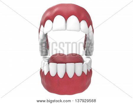 3d illustration of opened gum with teeth and tongue. icon for game web. white background isolated. colored and cute. anatomy part of the mouth.