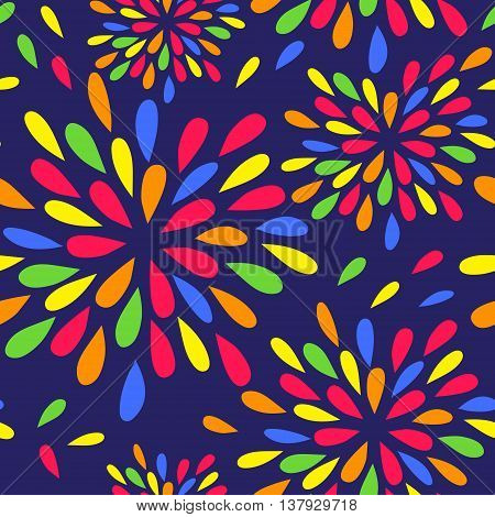 Seamless background with brightly colored drops like a spray or fireworks.Bright funny background for textile wrapping paper and other surfaces. Vector illustration.