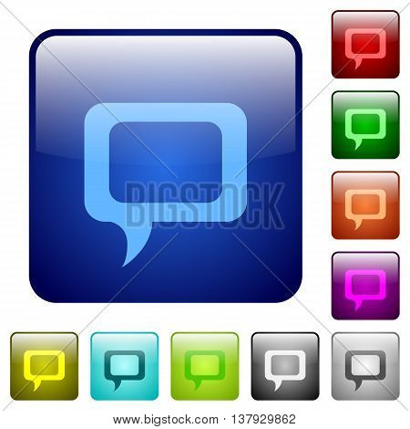 Set of comment color glass rounded square buttons