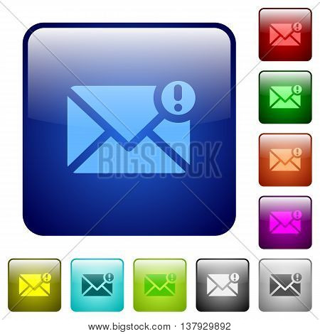 Set of important message color glass rounded square buttons