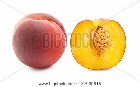 Peaches. Ripe fresh peaches isolated on white background. Peach in a cut