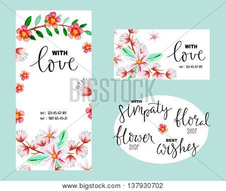 Flyer or greeting card with watercolor flowers and an inscription