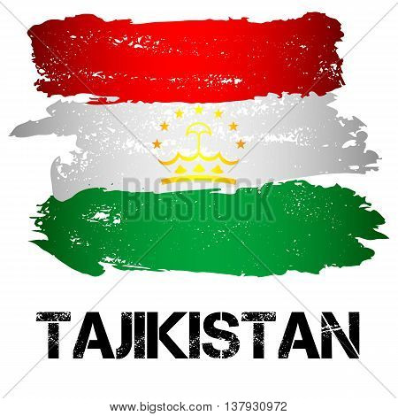Flag of Tajikistan from brush strokes isolated on white background. CIS country. Vector illustration