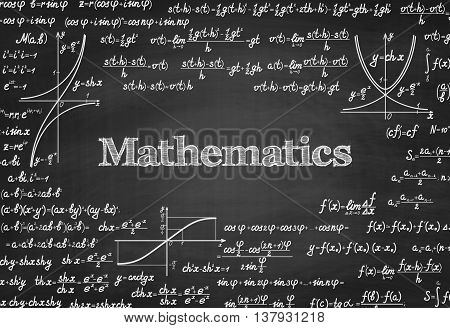 Mathematical vector seamless pattern with formulas, equations and figures, handwritten on a blackboard seamless design