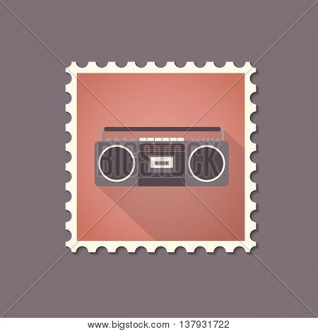 Retro style tape recorder flat stamp with shadow. Vector illustration.