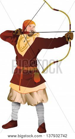vector illustration of the archer in medieval costume