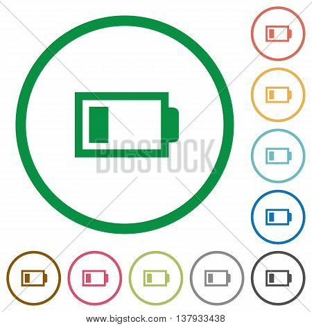 Set of Low battery color round outlined flat icons on white background
