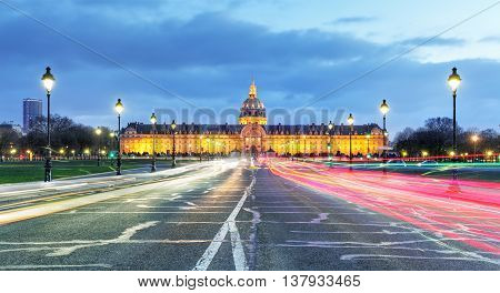 Les Invalides at a night - Paris France