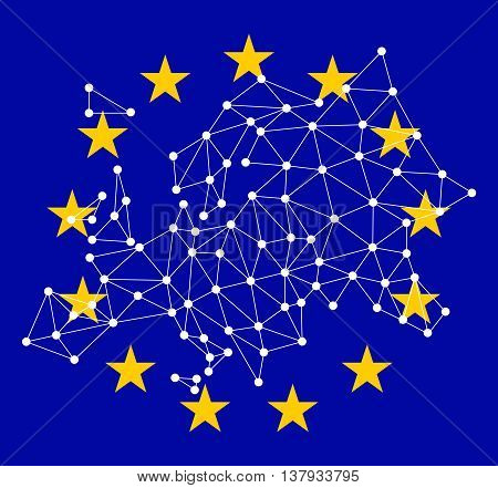 Polygonal map of Europe with dots and lines on background EU flag, network connections