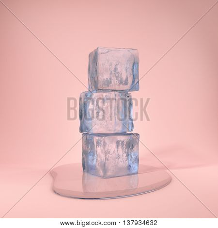 Ice cubes and water drop on pink background. 3D illustration.