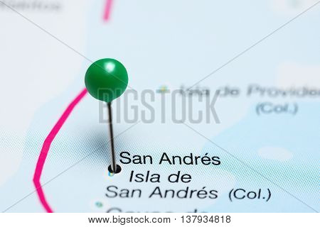 San Andres pinned on a map of Colombia