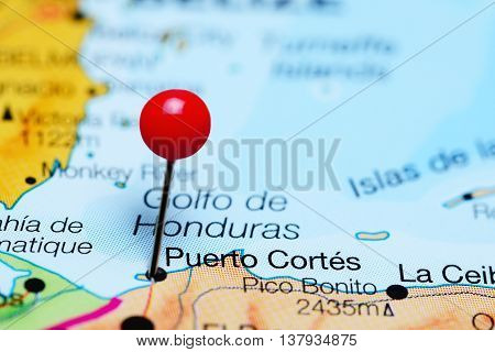 Puerto Cortes pinned on a map of Honduras