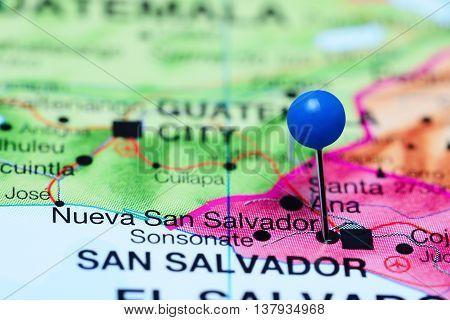Nueva San Salvador pinned on a map of El Salvador
