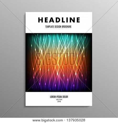 business brochure template or layout design flyer in A4 size with abstract neon background. stock vector illustration eps10