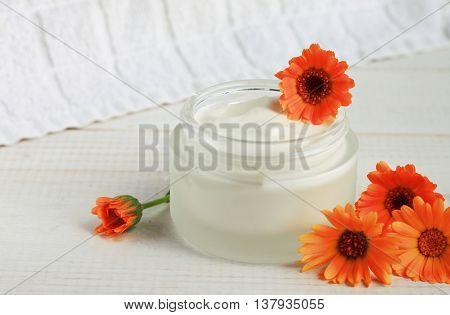 White jar face and body cream, holistic calendula fresh flowers.
