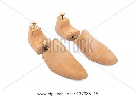 Luxury Wooden Shoe Stretcher Isolated On White Background