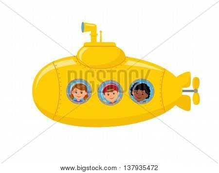 Yellow submarine with children on board. Children looking at the porthole. Isolated vector illustration of a underwater Journey.