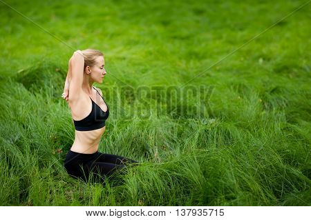 Healthy Yoga Session In Woods