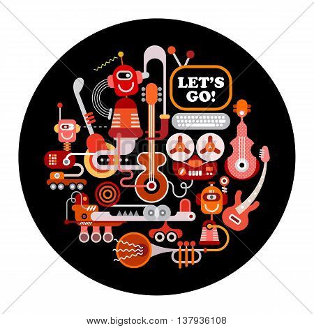 Futuristic Recording Studio illustration. Round shape art collage of a musical instruments and electronic equipment isolated on a black background.