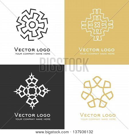 Set of vector abstract geometric logo in dark grey and gold colors. Celtic arabic style. Sacred geometry icon. Identity design.